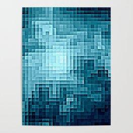 Nebula Pixels Steel Teal Blue Poster