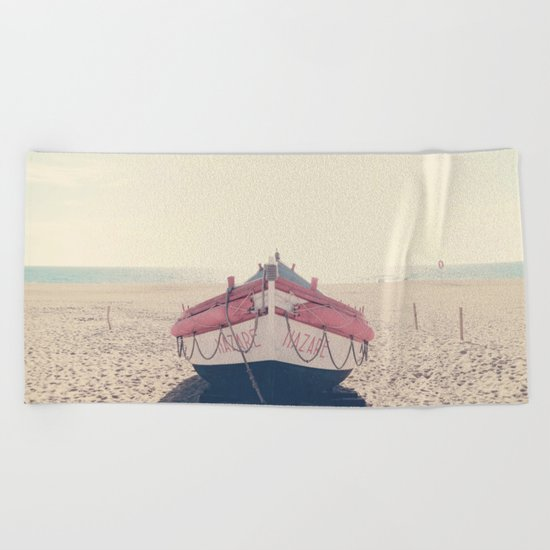 Nazare fishing boat Beach Towel