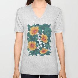 Orange Hibiscus Flowers Unisex V-Neck