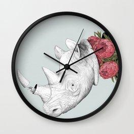 White Rhino with Proteas Wall Clock