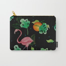 Flamingo Tropical Scene // Black Green Pink Orange Palette Carry-All Pouch