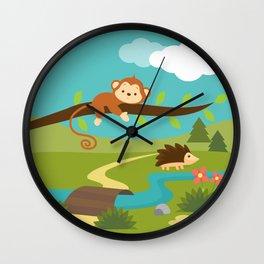 Monkey in the jungle , nursery decor Wall Clock
