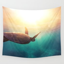Sea Turtle - Underwater Nature Photography Wall Tapestry
