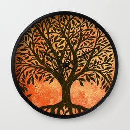 Tree Of Life Warm Tones Wall Clock