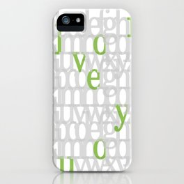 The ABC of i love you. In Olive Green. iPhone Case