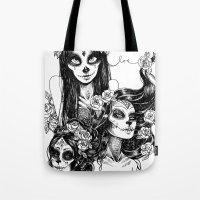 dia de los muertos Tote Bags featuring Dia de los Muertos by Khaedin