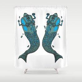 Hot Dog Mermaid! Shower Curtain