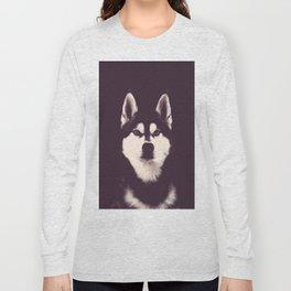 Vintage Oil Painting Husky Dog Special Design for Dog Lovers Long Sleeve T-shirt