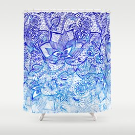 Modern china blue ombre watercolor floral lace hand drawn illustration Shower Curtain