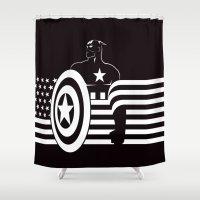 captain silva Shower Curtains featuring captain by MISTER BLACKWHITE