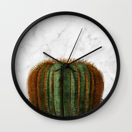 Cactus Ball on White Marble and Zigzag Wall Wall Clock