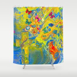Heaven's Wings Psychedelic Shower Curtain