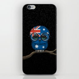 Baby Owl with Glasses and Australian Flag iPhone Skin