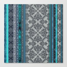 Teal, Aqua & Grey Vintage Bohemian Wallpaper Stripes Canvas Print