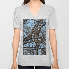 Bald Eagle Camouflaged in a Tree Unisex V-Neck