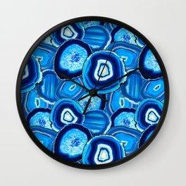 Geode Slices No.1 in Aquamarine + Sapphire Blue Wall Clock