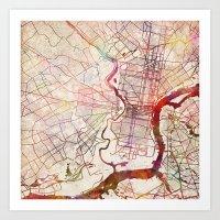 philadelphia Art Prints featuring Philadelphia by MapMapMaps.Watercolors