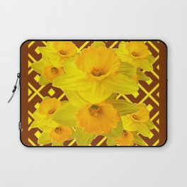 Coffee Brown Pattern of Golden Daffodils Art Laptop Sleeve