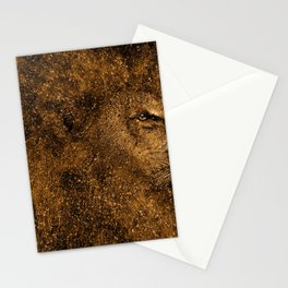 Gracious Golden Male Lion Glitter Particle Mane Head Profile Ultra HD Stationery Cards