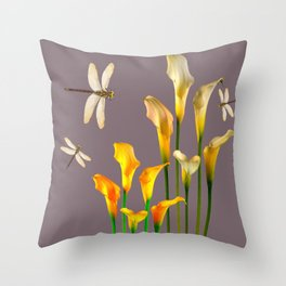 GOLD CALLA LILIES & DRAGONFLIES ON GREY Throw Pillow