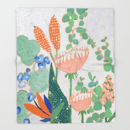 Proteas and Birds of Paradise Painting Throw Blanket