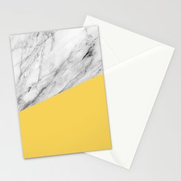 Marble and Primrose Yellow Color Stationery Cards