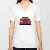 honda V-neck T-shirts featuring Honda Civic EF9 by IrvSim
