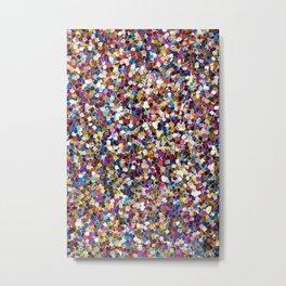 Colorful Rainbow Glittering Confetti Metal Print