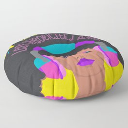 More Music: Woman with Headphones Floor Pillow