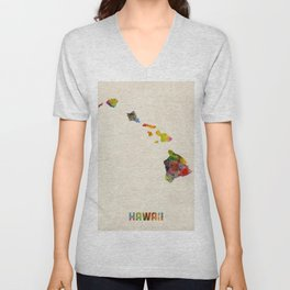 Hawaii Watercolor Map Unisex V-Neck