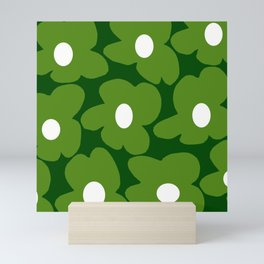 Spring Green Retro Flowers Dark Green Background #decor #society6 #buyart Mini Art Print