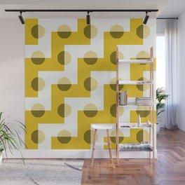 Geometric Zig Zags & Circles Horizon Pattern 6 - Sun shine Yellow Wall Mural