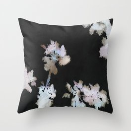 Tropical Palms On Black Background Throw Pillow
