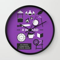 ouat Wall Clocks featuring OUAT - A Wizard by Redel Bautista