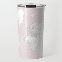World map, highly detailed in dusty pink and white, square Travel Mug