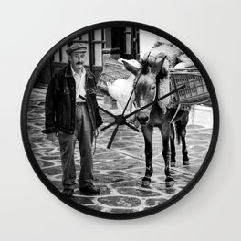 Greek Man With His Donkey (Square) Wall Clock