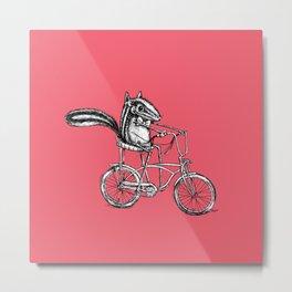 Ride On Chipmunk_pink Metal Print