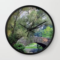 central park Wall Clocks featuring Central Park by Elizabeth Chung