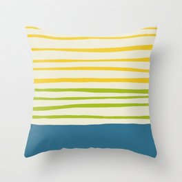 Playing with Strings - Line Art - Blue, Green, Yellow Throw Pillow