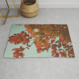 maple, leaves, autumn, red, branches Rug
