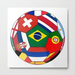 Football ball with various flag - 2018 Metal Print
