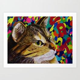 groovy cat Art Print