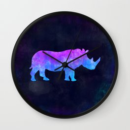 RHINO IN SPACE // Animal Graphic Art // Watercolor Canvas Painting // Modern Minimal Cute Wall Clock