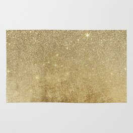 Girly Glamorous Gold Foil and Glitter Mesh Rug