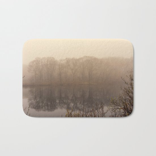 Foggy springtime Reflections Bath Mat