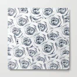 rose pattern texture abstract background in black and white Metal Print