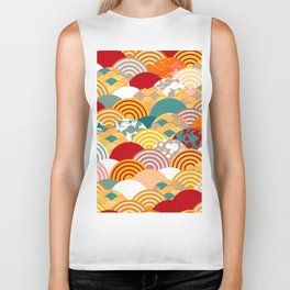 Nature background with japanese sakura flower, orange red pink Cherry, wave circle pattern Biker Tank