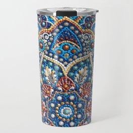 Blue dot art mandala Travel Mug