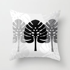 Tropical leaves in grey Throw Pillow