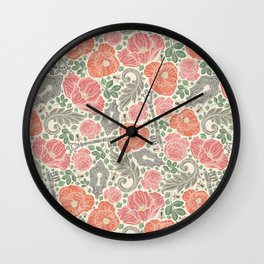 Orange poppies and red roses with keys on light background Wall Clock